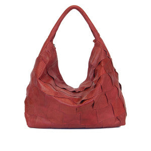 MANZONI Leather Lambskin Hobo (Style N188CR) - SALE - PERSIMMON