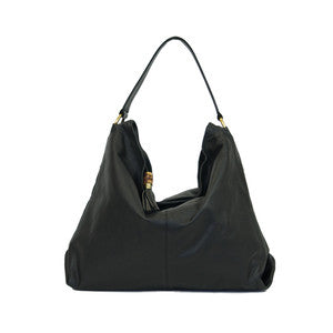 MANZONI Leather Slouchy Bag (Style N359) SALE - BLACK