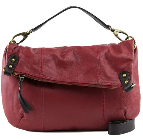 MANZONI Leather Shoulder Bag N561 Persimmon Red with FREE WALLET