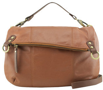 MANZONI Leather Shoulder Bag N561 Tan Brown with FREE WALLET