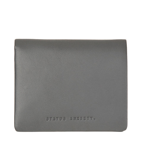 STATUS ANXIETY Nathaniel Leather Wallet Slate Grey