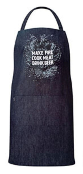 BBQ Denim Apron - Make Fire, Cook Meat, Drink Beer