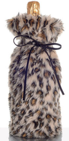 Absolutely Fab Fur Wine Bag Leopard
