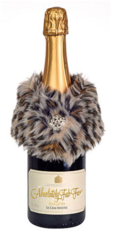 Absolutely Fab Fur Wine Stole Leopard