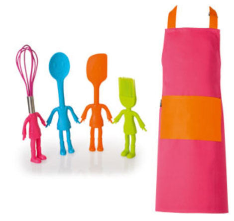 Little Helper Kids Kitchen Utensils and Apron Set Pink