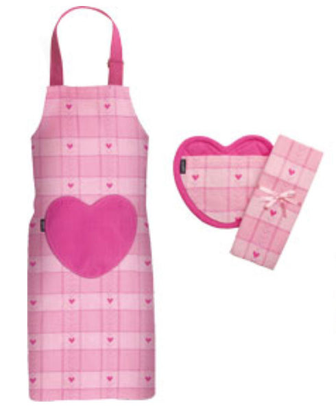 Sweetheart 3 Piece Apron Set Pink