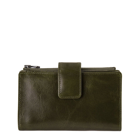 STATUS ANXIETY OUTSIDER LEATHER ZIP WALLET KHAKI GREEN