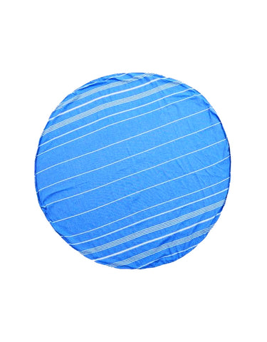 Miz Casa & Co Palm Beach Round Turkish Towel Blue