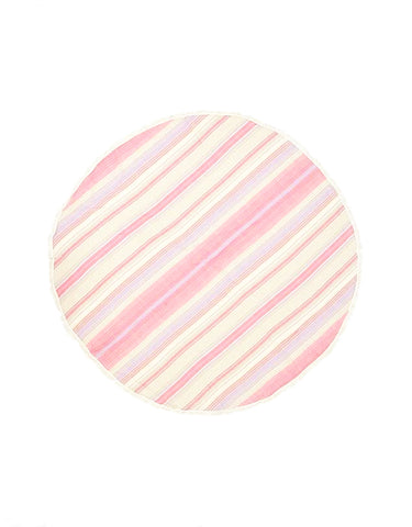 Miz Casa & Co St Barts Round Turkish Towel Pink Stripe