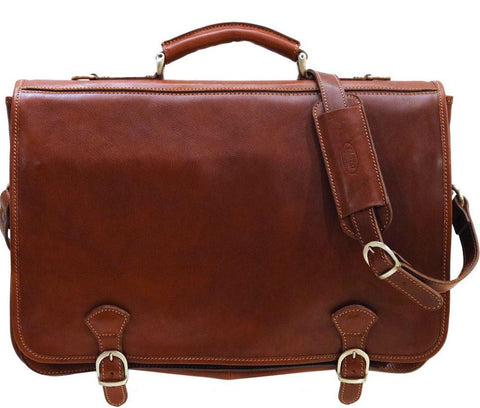 FLOTO Piazza Messenger Briefcase Laptop Case Saddle Brown
