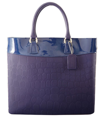 PISIDIA Leather and Silicone Tote Midnight Blue SALE