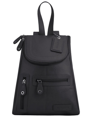 MANZONI Leather Backpack R107 Black with FREE WALLET