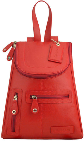MANZONI Leather Backpack R107 Red with FREE WALLET
