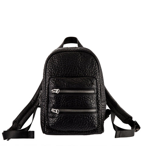STATUS ANXIETY RACKETEER LEATHER BACKPACK BLACK BUBBLE WITH FREE WALLET