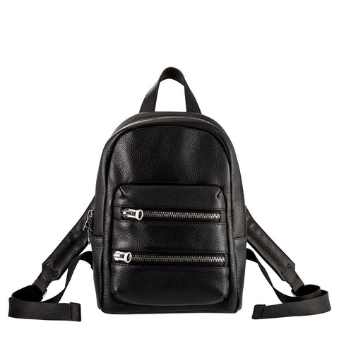 STATUS ANXIETY RACKETEER LEATHER BACKPACK BLACK WITH FREE WALLET