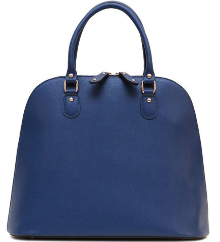FLOTO Ragazza Leather Dome Satchel Blue-Designer Online