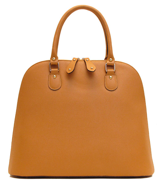 FLOTO Ragazza Leather Dome Satchel Tan Brown