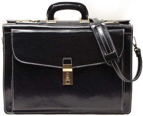 FLOTO Leather Roma Briefcase Black