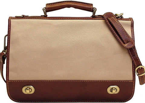 Floto Roma Messenger Canvas & Leather Briefcase Laptop Case