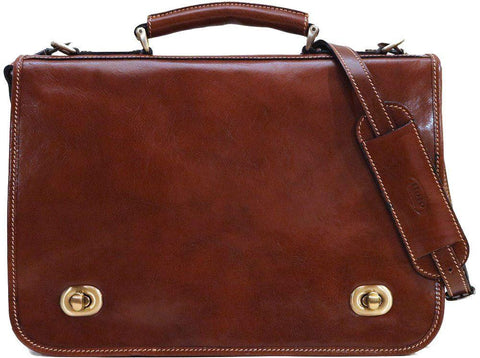 FLOTO Roma Messenger Briefcase Laptop Case Vecchio Brown