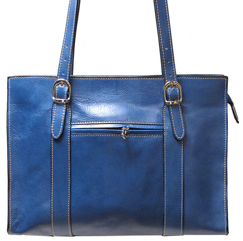 FLOTO Roma Leather Shoulder Bag Blue