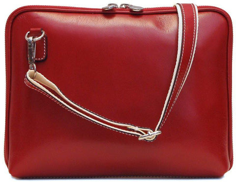 FLOTO Roma Leather Tablet Bag Tuscan Red