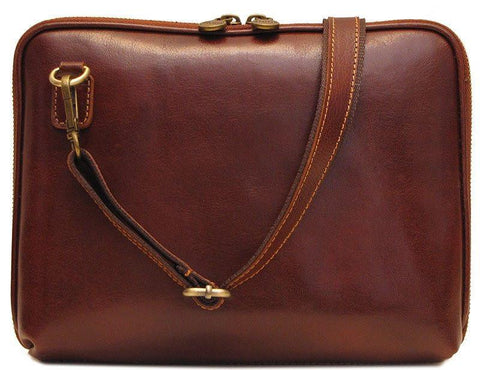 FLOTO Roma Leather Tablet Bag Vecchio Brown