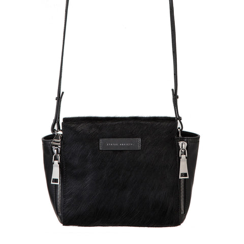 STATUS ANXIETY The Ascendants Shoulder Bag Black Leather & Fur FREE WALLET
