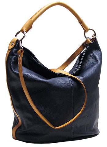 FLOTO Sardinia Leather Hobo Bag Riviera Blue