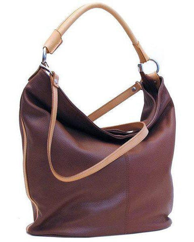 FLOTO Sardinia Leather Hobo Shoulder Bag Brown