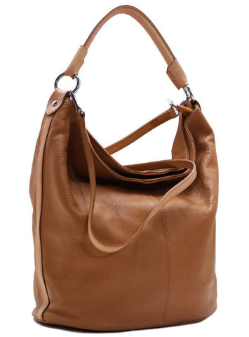 FLOTO Sardinia Leather Hobo Shoulder Bag Tan Brown