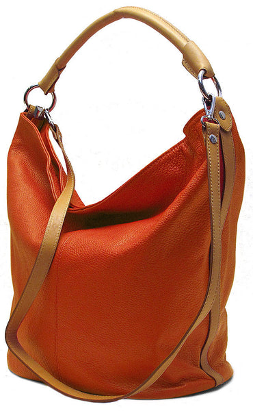 FLOTO Sardinia Leather Hobo Bag Sunset Orange