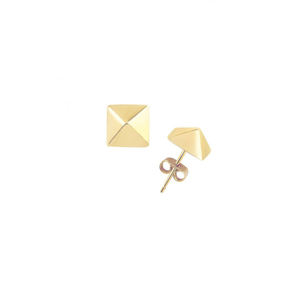 LISA FREEDE Small Solid Pyramid Stud Earrings Gold