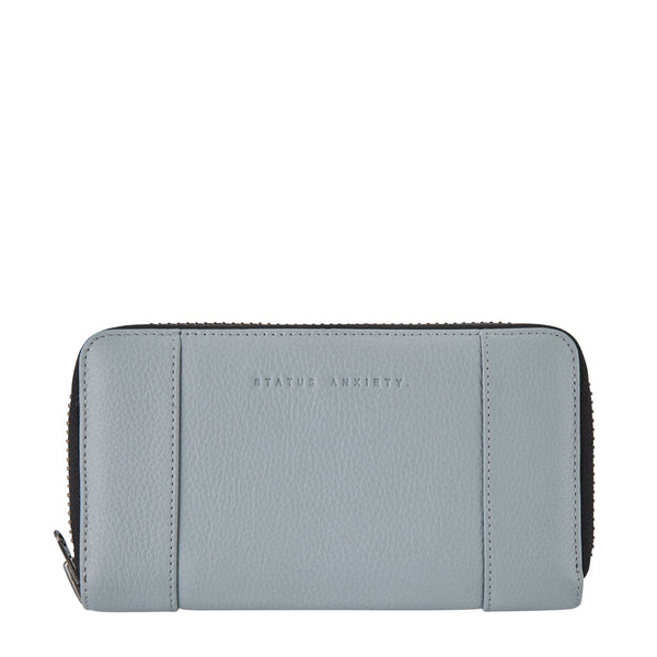 STATUS ANXIETY STATE OF FLUX LEATHER ZIP WALLET ARCTIC GREY
