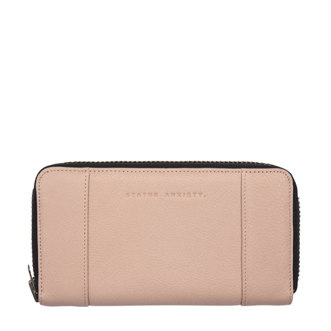 STATUS ANXIETY STATE OF FLUX LEATHER ZIP WALLET DUSTY PINK