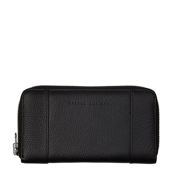 STATUS ANXIETY State of Flux Leather Zip Wallet Black