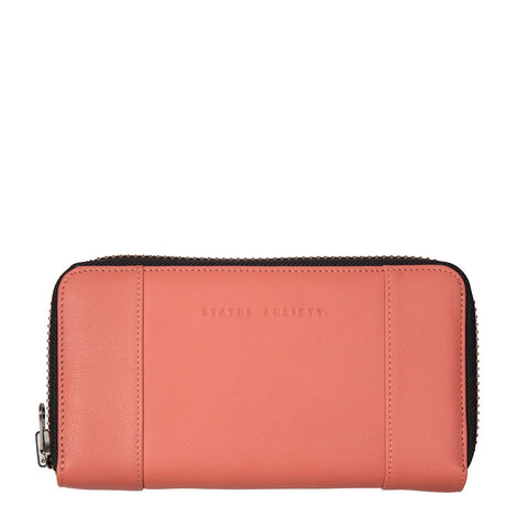 STATUS ANXIETY State of Flux Leather Zip Wallet Coral Pink