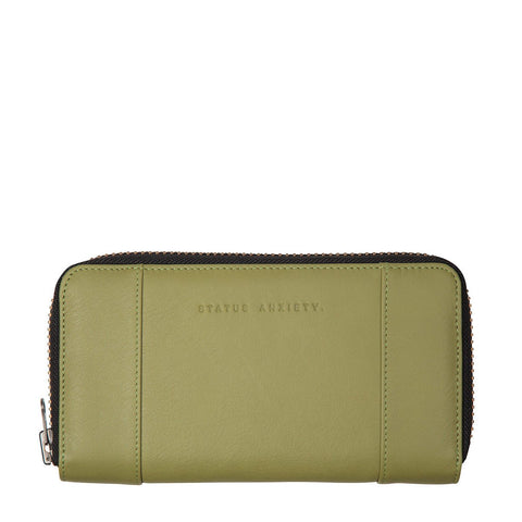 STATUS ANXIETY State of Flux Leather Zip Wallet Olive Green