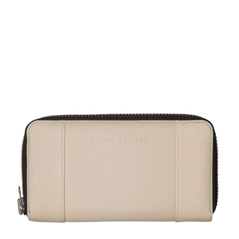 STATUS ANXIETY State of Flux Leather Zip Wallet Nude Cream