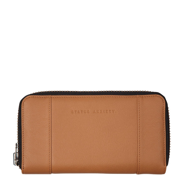 STATUS ANXIETY State of Flux Leather Zip Wallet Tan
