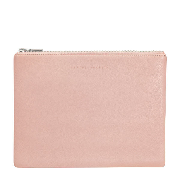 STATUS ANXIETY ANTIHEROINE LEATHER CLUTCH BAG DUSTY PINK