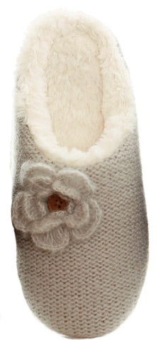 Gingerlilly Susie Knit Flower Slipper Light Grey