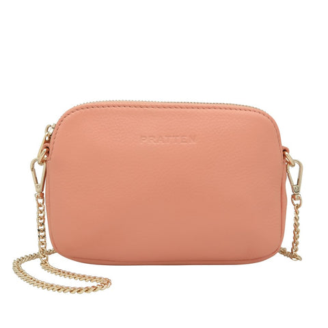 PRATTEN Leather Sweetheart Clutch / Crossbody Bag Blush Pink