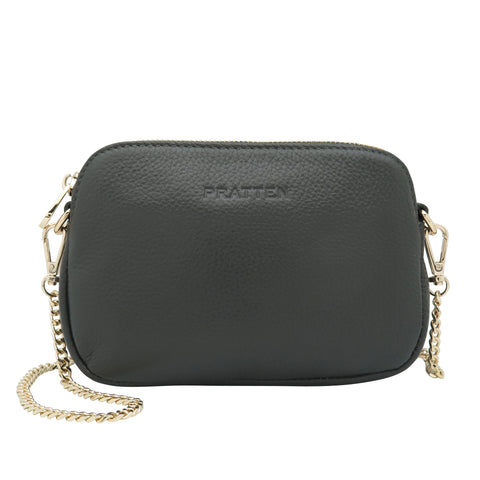 PRATTEN Leather Sweetheart Clutch / Crossbody Bag Charcoal Grey