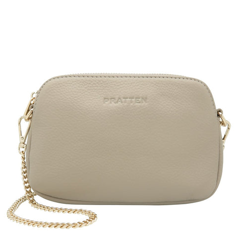 PRATTEN Leather Sweetheart Clutch / Crossbody Bag Grey