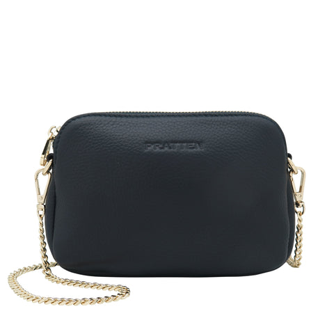 PRATTEN Leather Sweetheart Clutch / Crossbody Bag Navy Blue