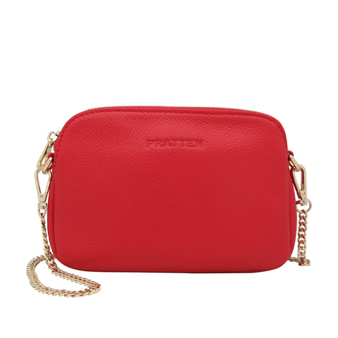 PRATTEN Leather Sweetheart Clutch / Crossbody Bag Red