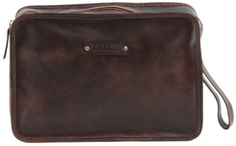 MANZONI Leather Distressed Pouch T419 Tan