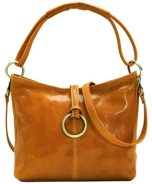 FLOTO Tavoli Leather Shoulder Bag Olive Brown