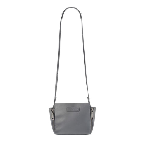 STATUS ANXIETY THE ASCENDANTS LEATHER SHOULDER BAG GREY PEBBLE WITH FREE WALLET